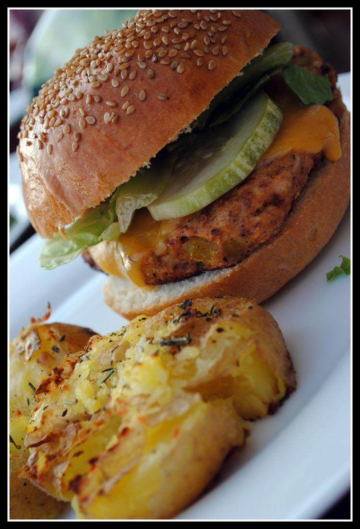 Easy Southwest Turkey Burgers w/ Avocado-Ranch Dressing