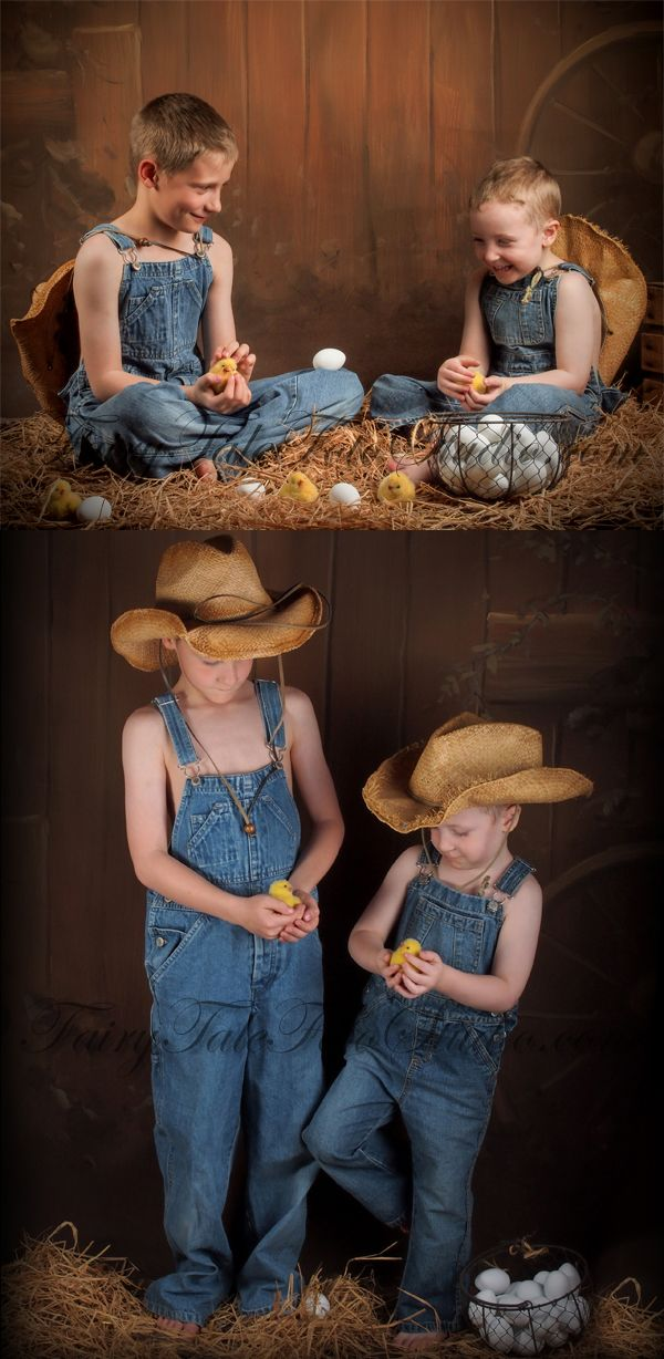 Old Fashioned Boys In A Barn With Easter Bunny Rabbits