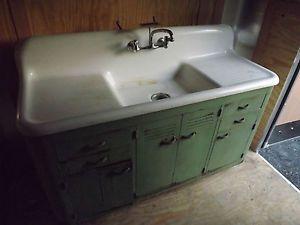 Cast Iron Farmhouse Kitchen Sink : Antique Farmhouse Vintage Kohler Kitchen Cast Iron Sink Original Metal ...