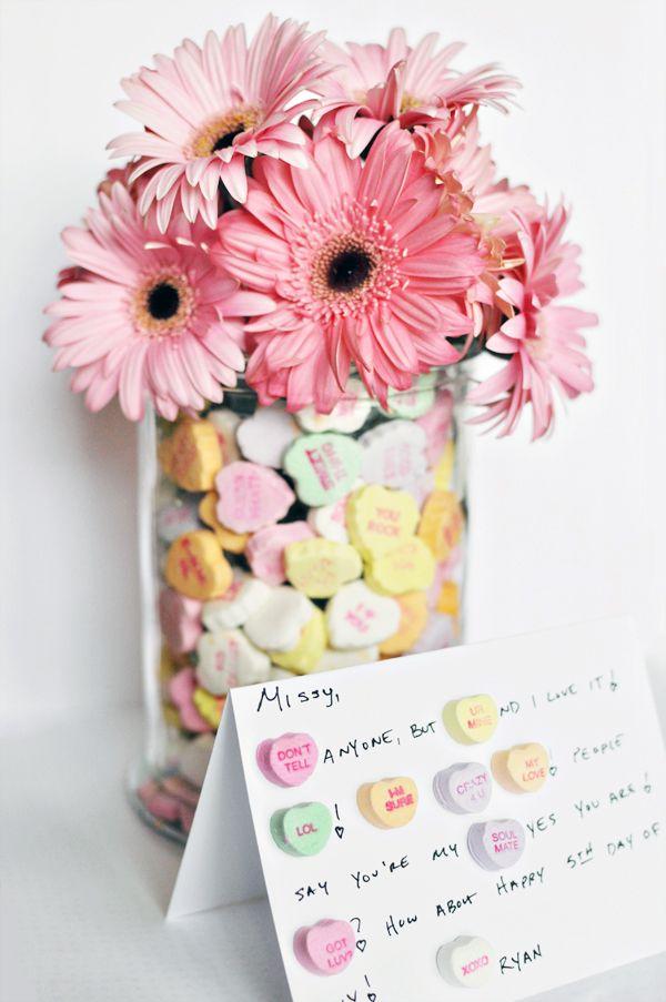 Candy hearts love note ... cute idea.