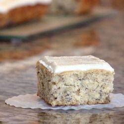 To Die For Banana Cake with Vanilla Bean Frosting.  Start to finish, about an hour - and no mixer needed.