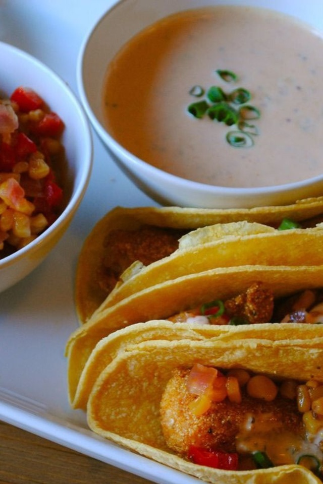 Cornmeal Crusted Fish Tacos with Spicy Remoulade