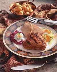 "Tandoori-Style Chicken with Cucumber Raita"""