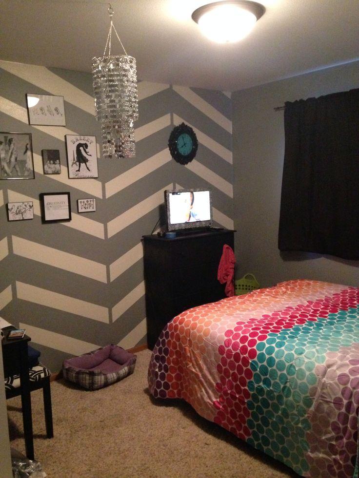 tween chevron bedroom bedroom wall pinterest