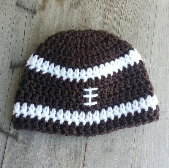 Crochet Pattern Baby Hat Free : Baby Boy Crochet football pattern hat. chocolate brown and ...