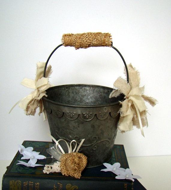 Flower Girl Baskets On Pinterest : Flower girl basket pail rustic  wedding