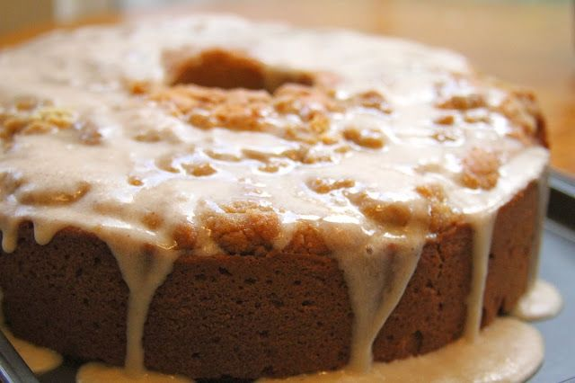 eggnog cake with brown sugar crumble and browned butter rum icing