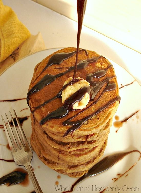 Gingerbread Pancakes with Chocolate Syrup--- These tall and fluffy ...