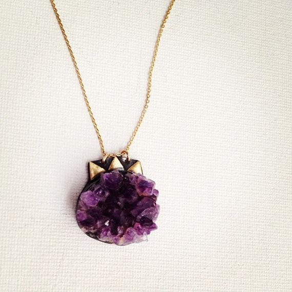 Freeform Purple Geode Pendant with Brass by RachelPfefferDesigns