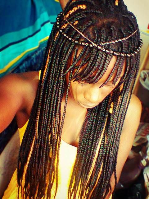 Box braids with bangs