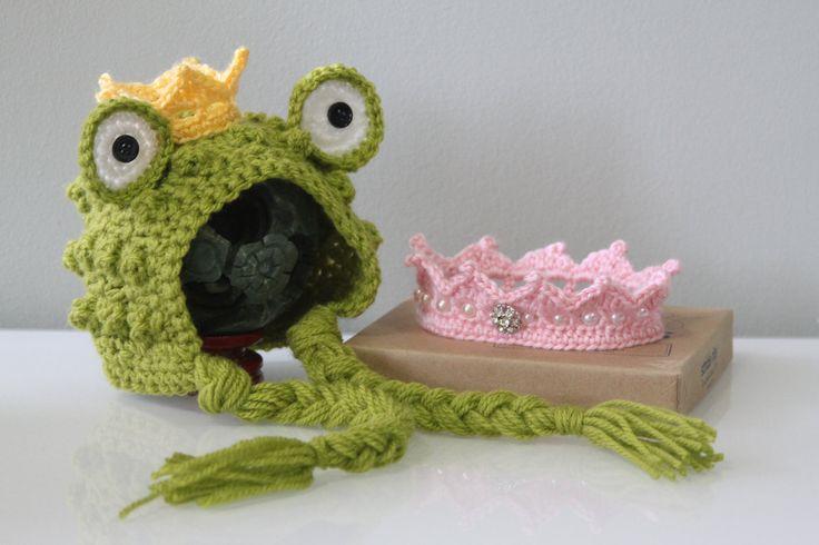 Crochet Pattern Newborn Crown : Crochet Newborn Twins Prince Frog Bonnet Hat and Princess ...