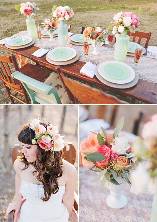 Mint and peach wedding decor ideas from weddingchicks.com  Love this article, bookmarking it and using it for inspiration. I am already in love with burlap and lace.