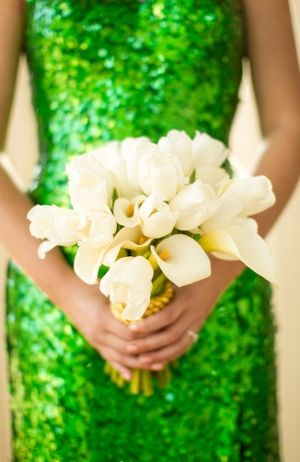 Emerald Sequin Bridesmaids Dress... how fun!