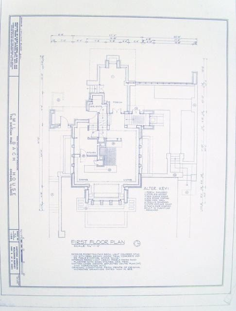 Frank lloyd wright bach house floor plan blueprint Frank lloyd wright house floor plans