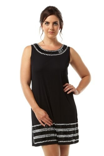 The perfect little black dress with beaded neckline and hem