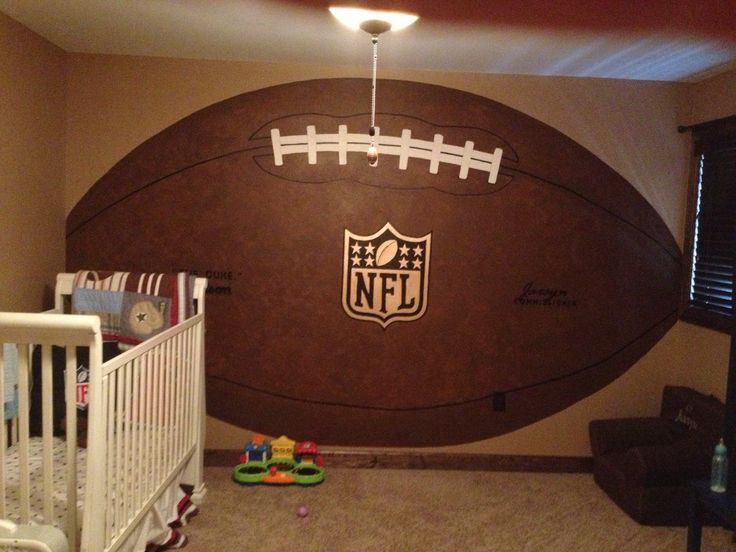 Nfl football for little boys room can use in place of a headboard