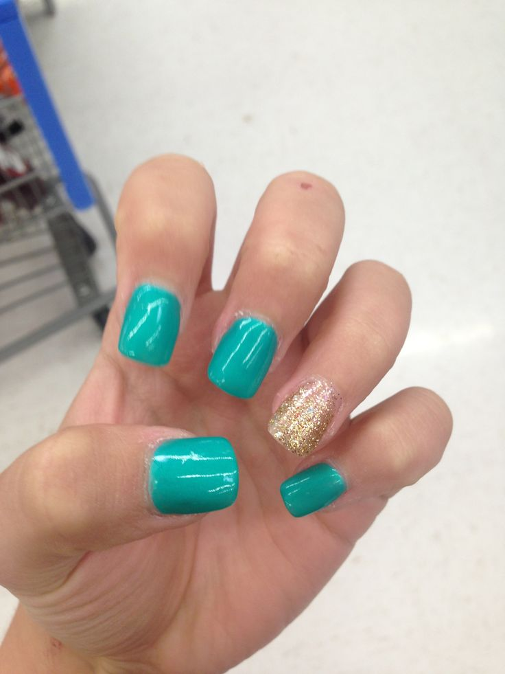 Teal And Gold Acrylic Nails Teal and gold gel nails