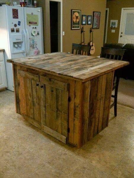 reclaimed wood kitchen island pallets pinterest