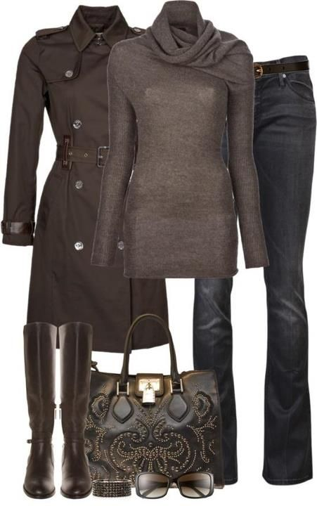 necked long sweater,jacket,jeans,handbag and knee long boots
