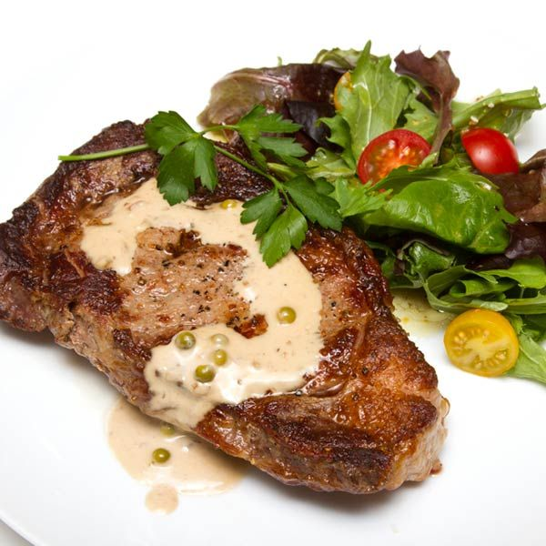 ... for Certified Piedmontese Ribeye Steak With Green Peppercorn Pan Sauce