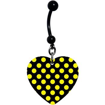 Black Yellow Polka Dot Heart Belly Ring