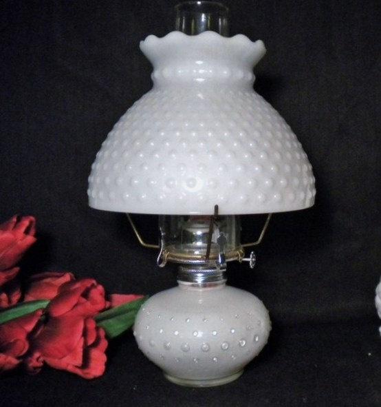 vintage milk glass oil lamp hurricane lamp