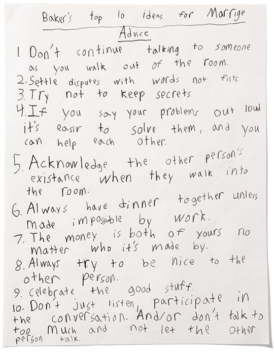 Marriage words of wisdom by a fourth grade student so smart