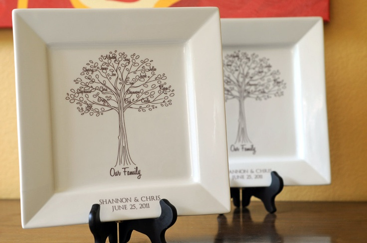 Wedding Gift Ideas For Bride And Groom From Parents : Family Tree Platter--Bride and Groom Wedding Gift for Parents