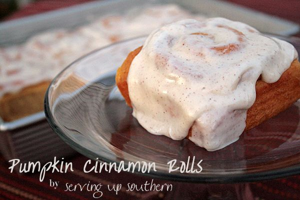 Pumpkin Cinnamon Rolls with Maple Cream Cheese Icing | Serving Up ...
