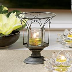 """Garden Sanctuary Wire Candle Holder : The graceful curves of a garden urn are echoed in our new votive holder. Weathered metal finish completes the outdoor allure. Glass cup for use with votives or tealights, sold separately. 5 1/2""""h, 4 3/4""""dia. #partylite  www.PartyLite.biz/NikkiHendrix"""