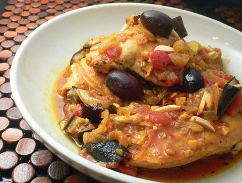 moroccan chicken with eggplant, tomatoes and almonds