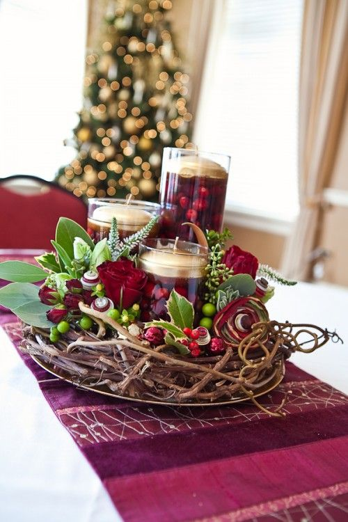 Holiday cranberry holly wreath centerpiece