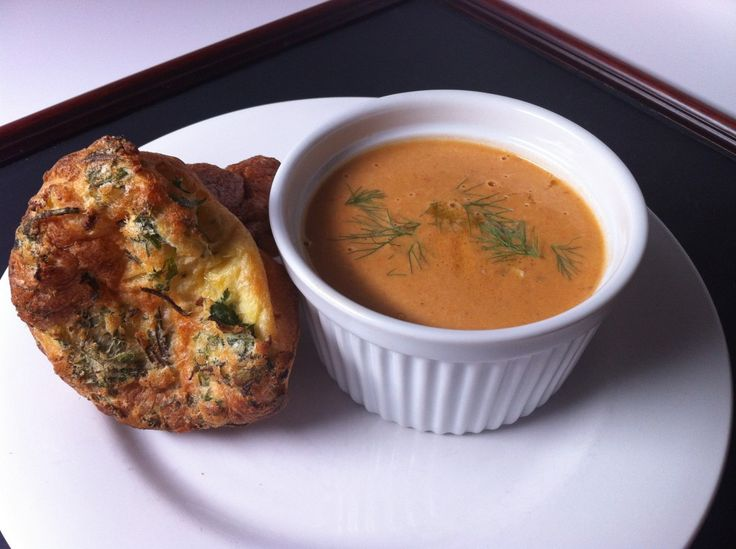 Homemade Lobster Bisque & Herbed Popovers for a meatless Monday
