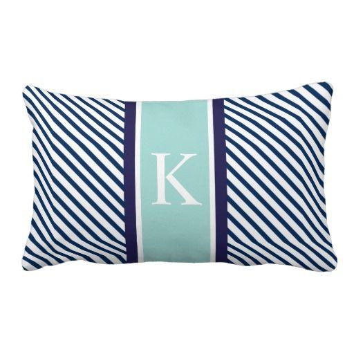 http://www.zazzle.com/navy_blue_mint_stripes_monogram_pillows-189396271789879930