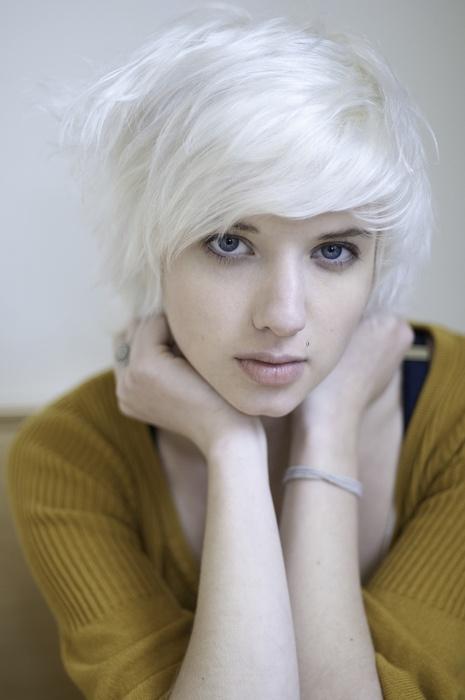 platinum white medium length hair blue eyes