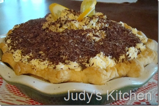 Chocolate Cream pie with Orange-Mascarpone cream topping