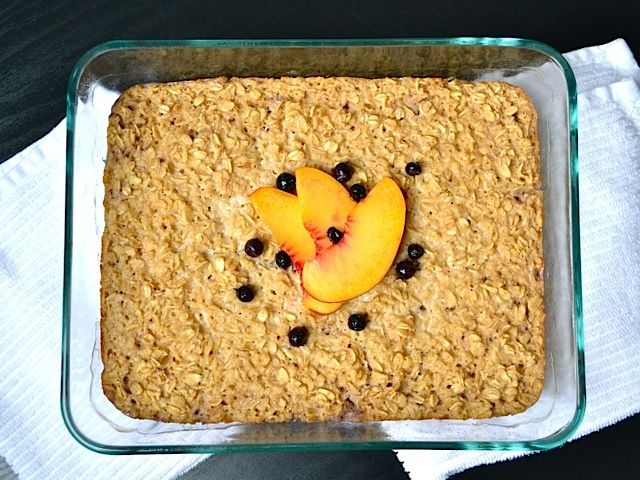 baked oatmeal (i used stevia instead of sugar and extra cinnamon and ginger for a sugar free version)