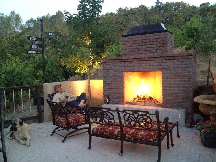 Outside fire pit next to concrete pad | Fire pit ideas | Pinterest