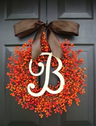 Pretty initial fall wreath