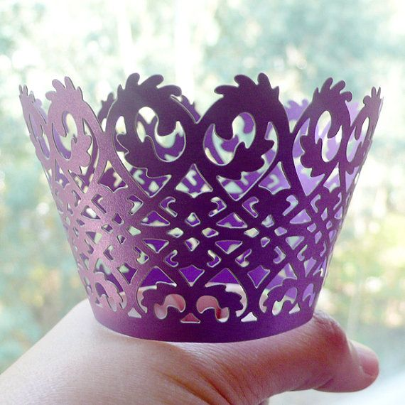 Cupcake Wrappers  Purple Lace  Laser Cut Purple by MiniatureSweet, $3.50