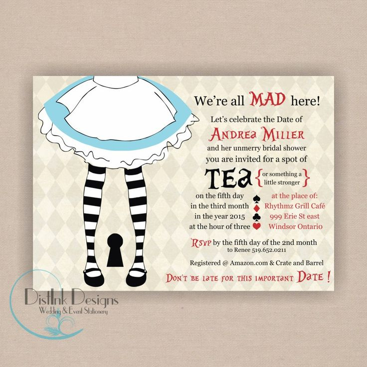 alice in wonderland mad hatter bridal or baby shower invitation
