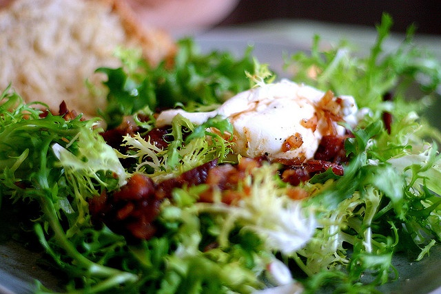 Frisee Salad With Lardons and Poached Eggs (Salad Lyonnaise)
