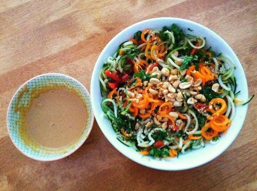Spring Roll Salad w/Spicy Peanut Sauce -spiralized carrot, zucchini ...