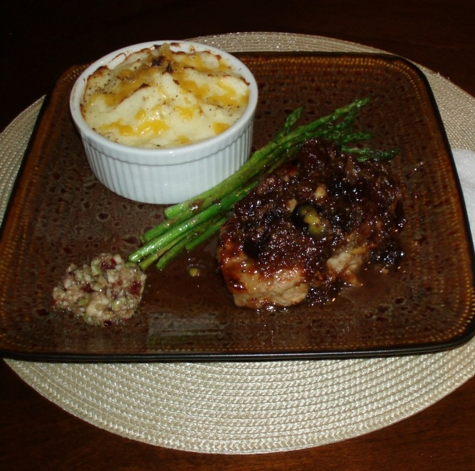 Apple chutney stuffed pork chops with cranberry pear & french brandy ...