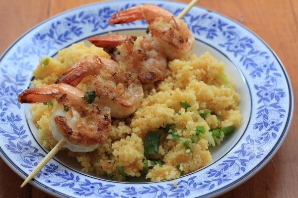 Panko Shrimp Skewers with Orange Couscous   Recipe
