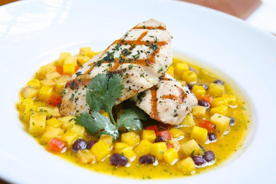 Jamaican jerked kingfish with a tropical salsa of pineapple, mango ...