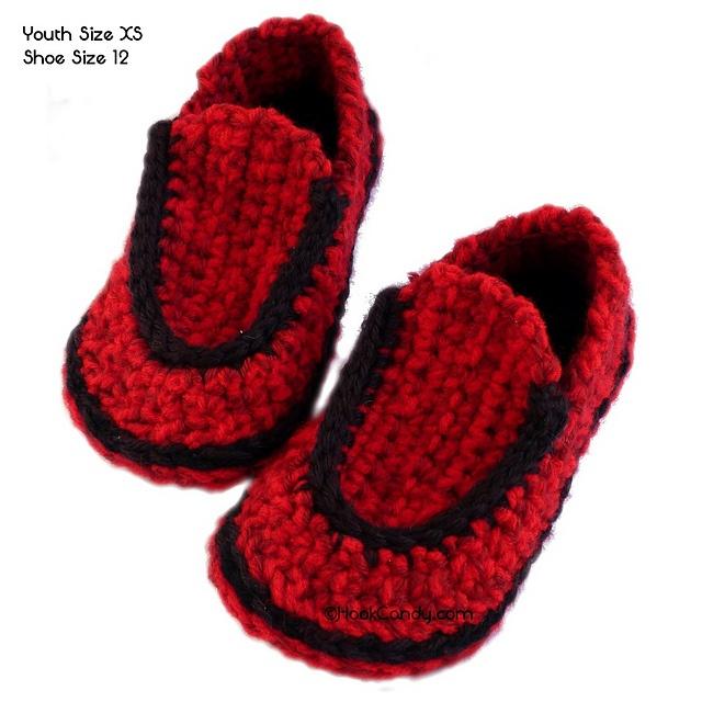 Free Crochet Pattern Loafer Slippers : Childrens Loafer Slippers pattern by Hook Candy