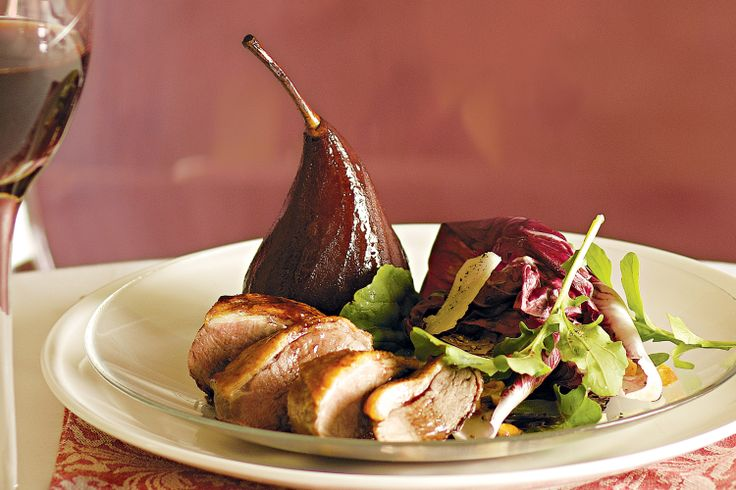 Roast duck with red wine poached pears | French | Pinterest