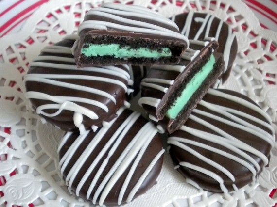 Chocolate Covered Mint Oreos Cookies Green Party Favors Chocolate Mint ...