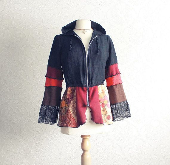 Upcycled Hoodie Bohemian Jacket Retro Clothes Women's Black Top